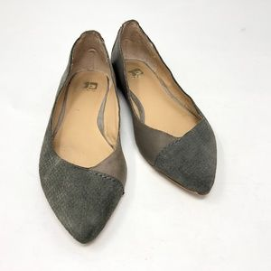 Joe's Atwood Gray Leather Pointy Toe Flats 6M